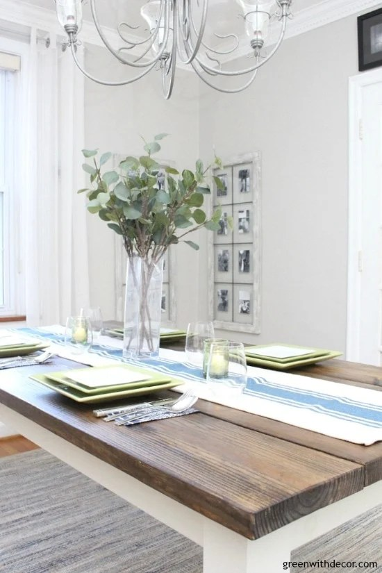 Dining room showcasing the paint color with a dark wood table