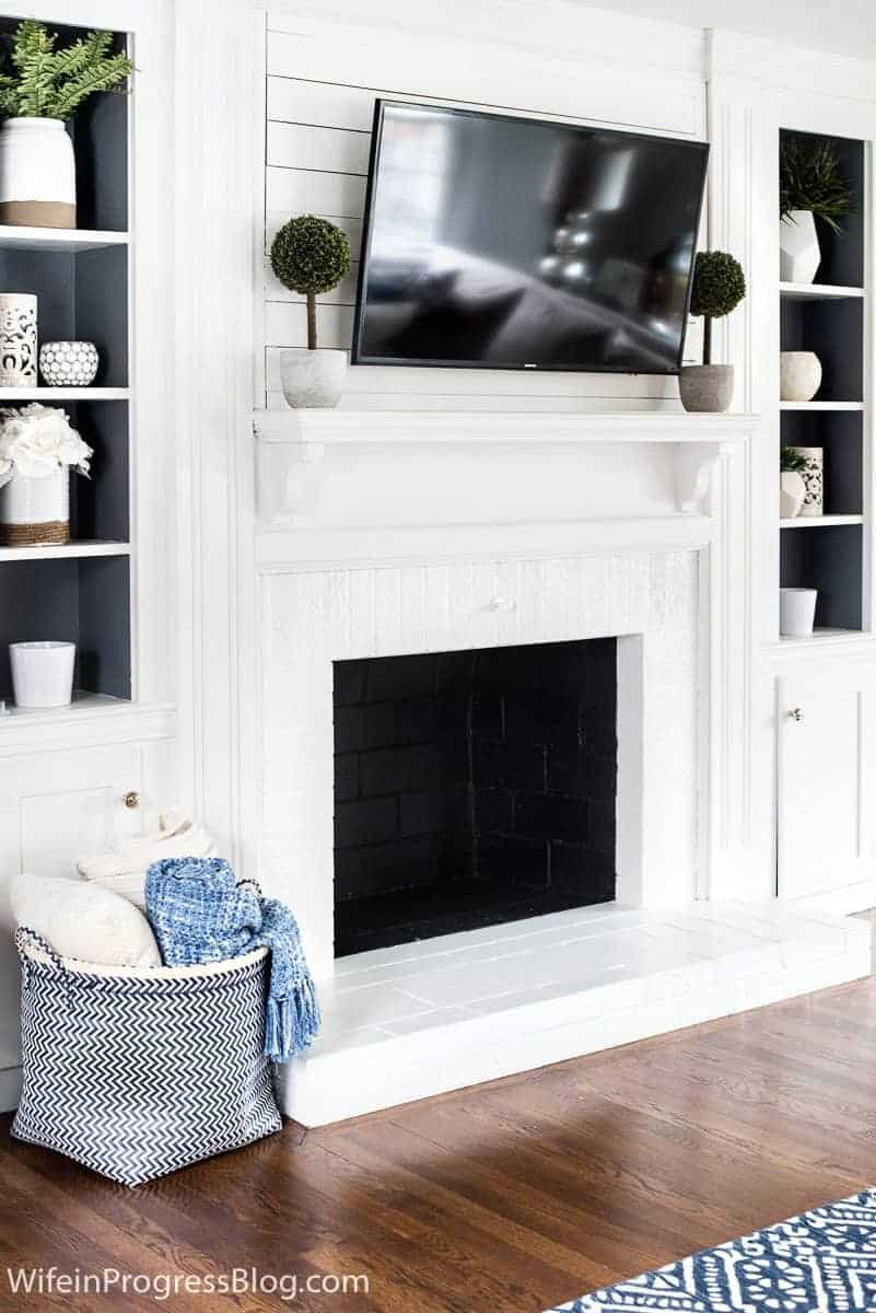 how to paint a brick fireplace white tutorial