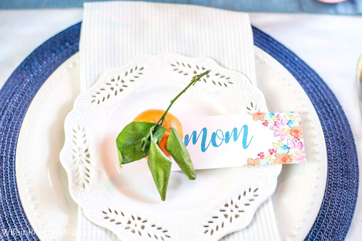 Free printable download mother's day place setting card