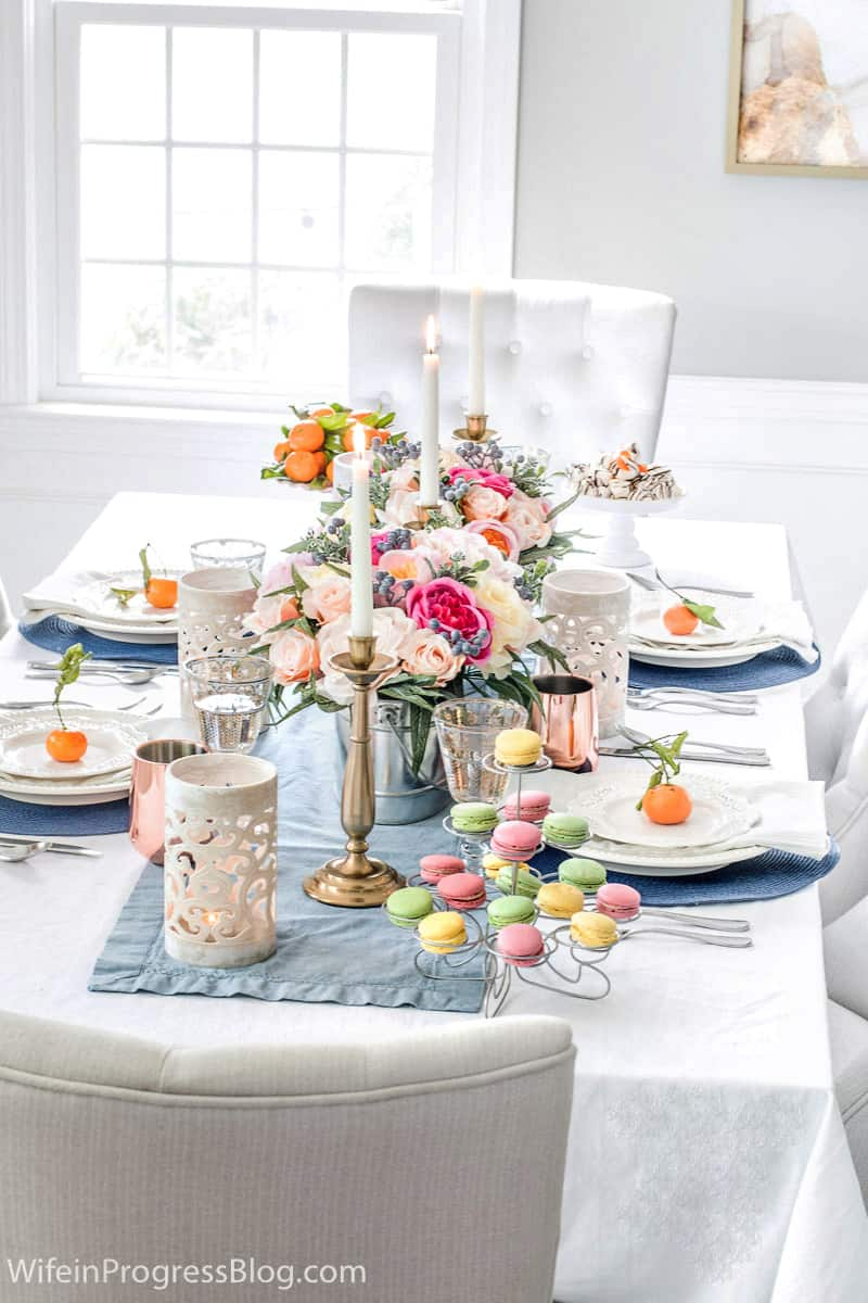 Mother's Day table setting for brunch or a luncheon