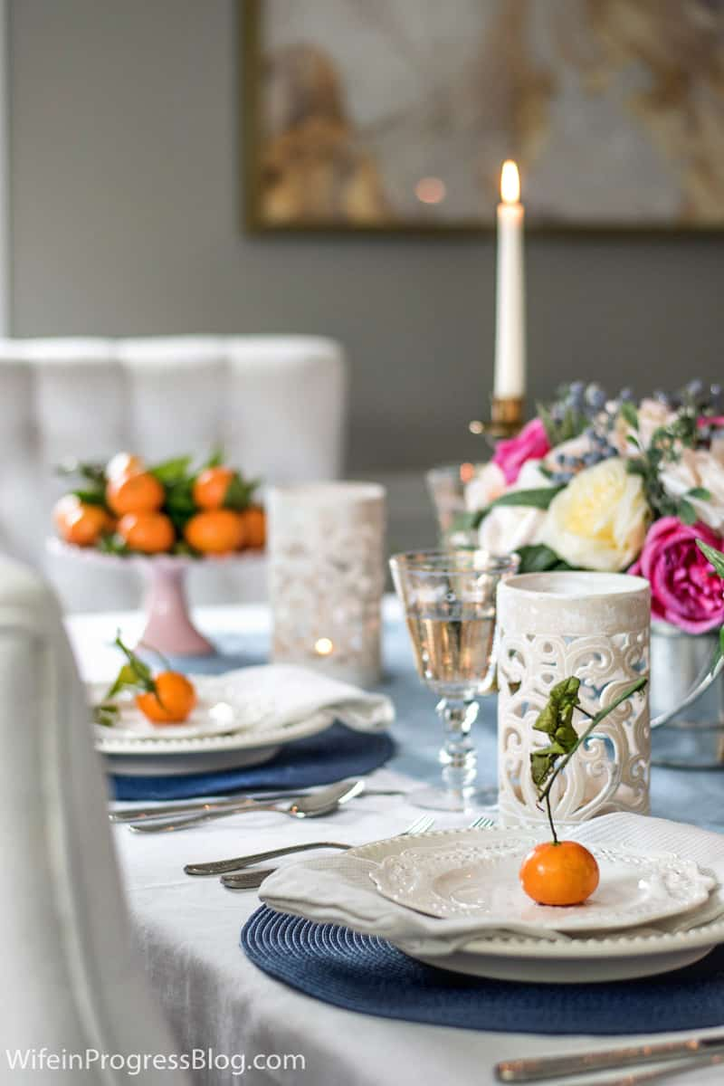 Using stemmed mandarins as a mother's day place setting. So simple but elegant!