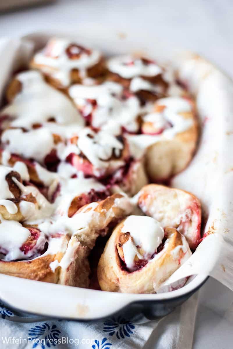 glazed raspberry swirl buns made with frozen raspberries and lots of lemon