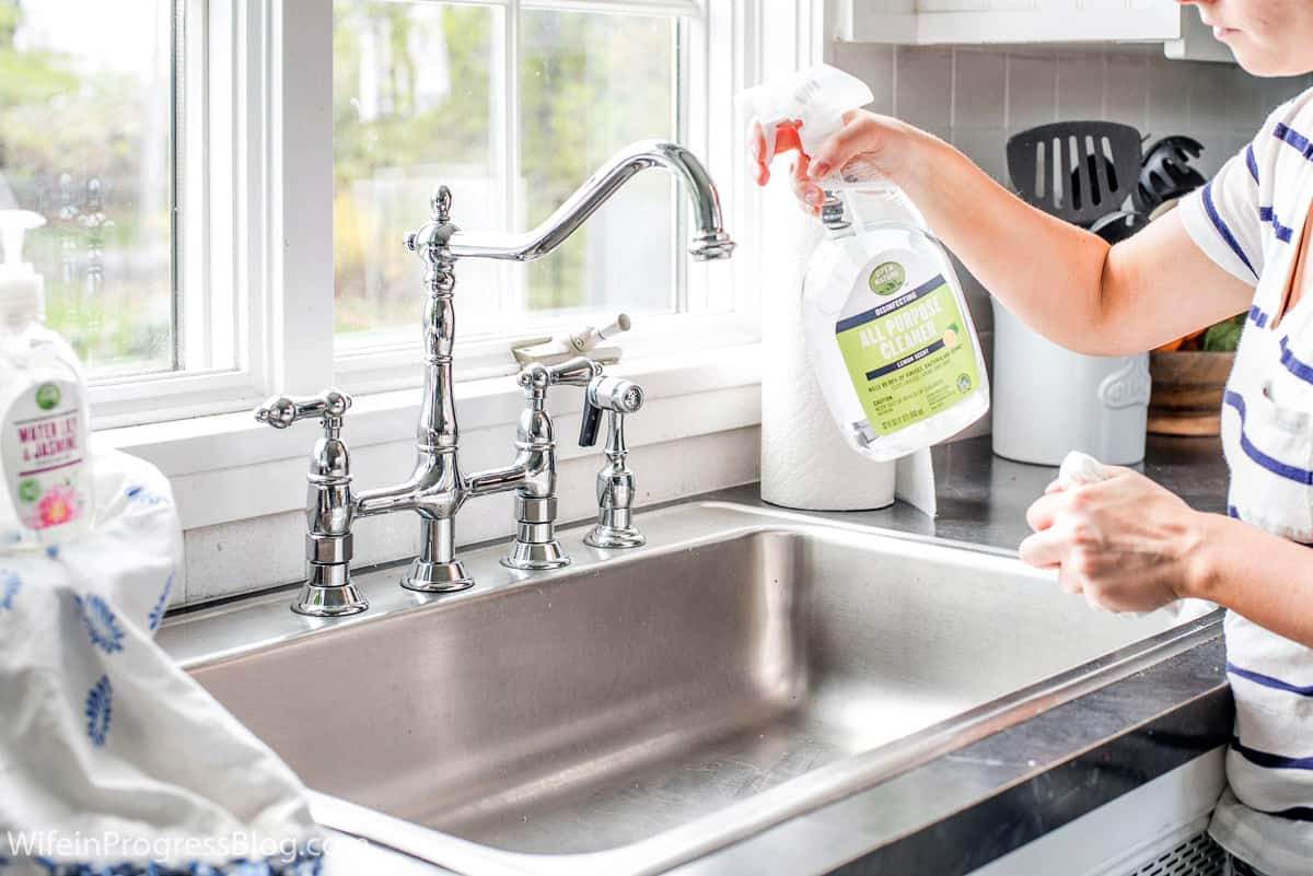 Cleaning the kitchen with Open Nature Cleaning Products
