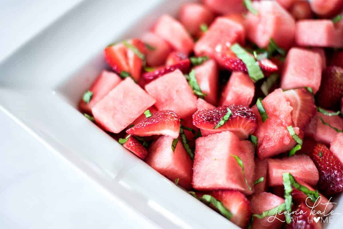 This strawberry, watermelon and basil fruit salad has only 3 ingredients as is very refreshing in the summer.
