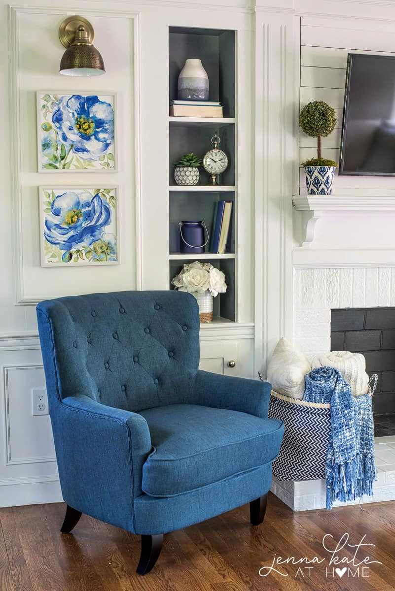The perfect navy blue accent chair for this coastal navy blue and gray living room