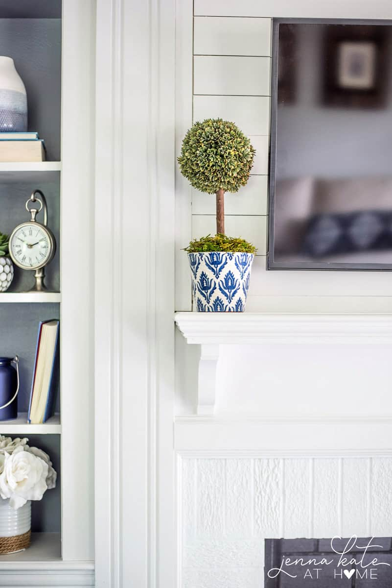 Navy blue and white plant pots