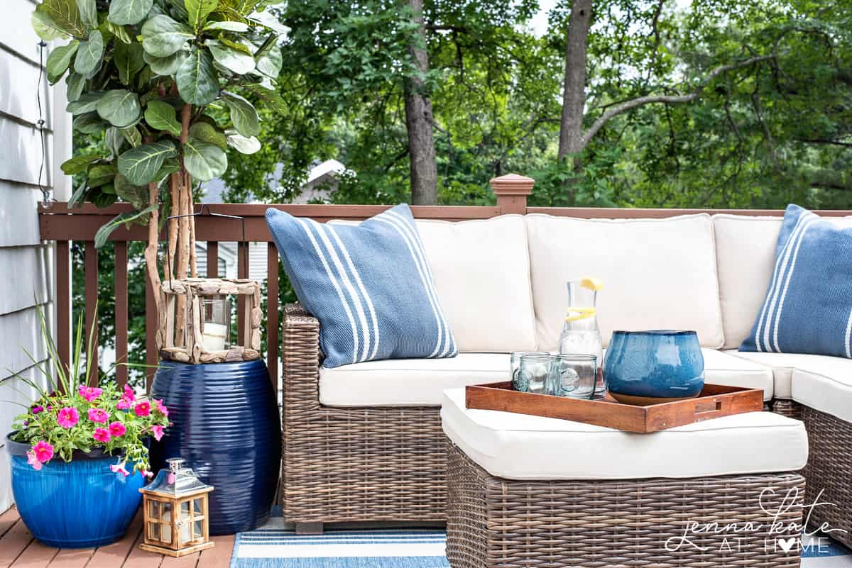 Furniture and decorative items on a small deck