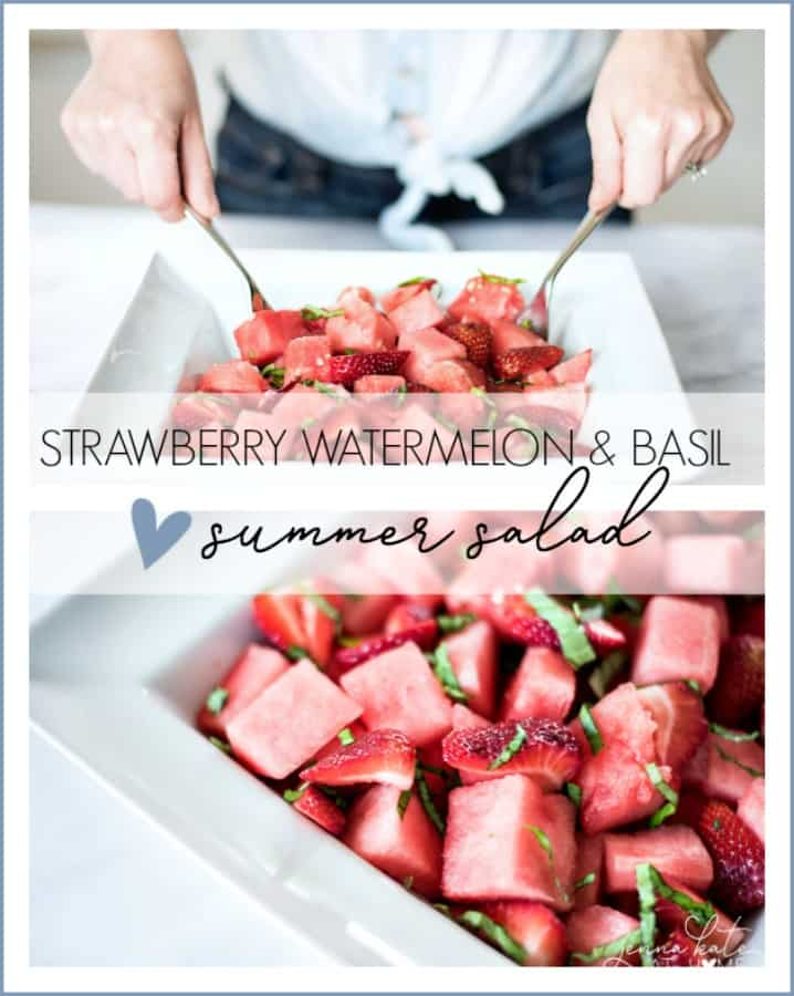 Looking for 4th of July food ideas? This strawberry, watermelon and basil fruit salad is the perfect refreshing side dish for an Independence Day party or any summer gathering.