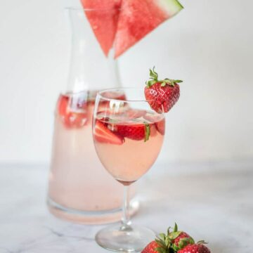 Strawberry Watermelon Basil Rose Cocktail