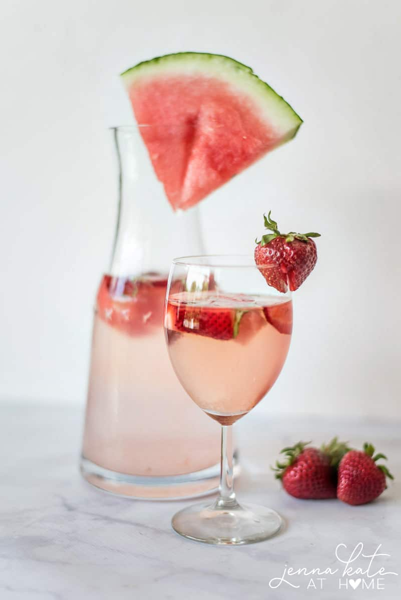 Strawberry Watermelon & Basil make for a the perfect summer rosé cocktail