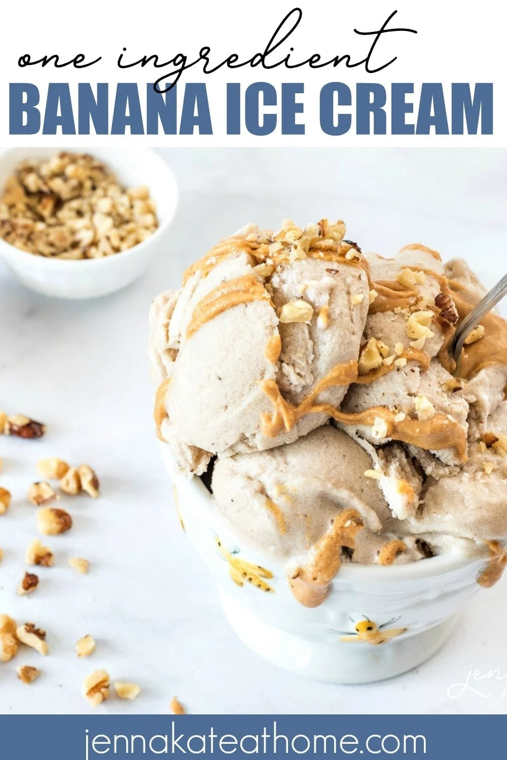 """This healthy banana """"ice cream"""" is made with only 1 ingredient - bananas! But adding chocolate chips and peanut butter turns it into a decadent treat that you don't need to feel guilty about!"""