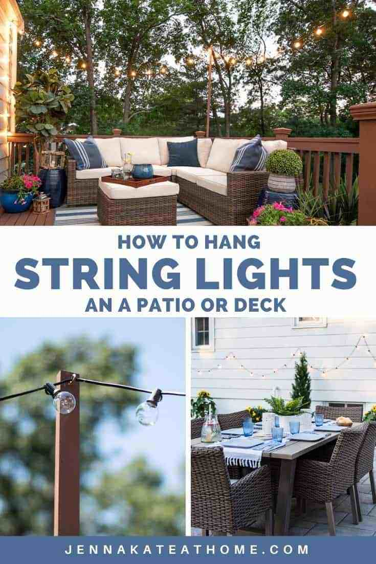how to hang string lights on a patio or deck