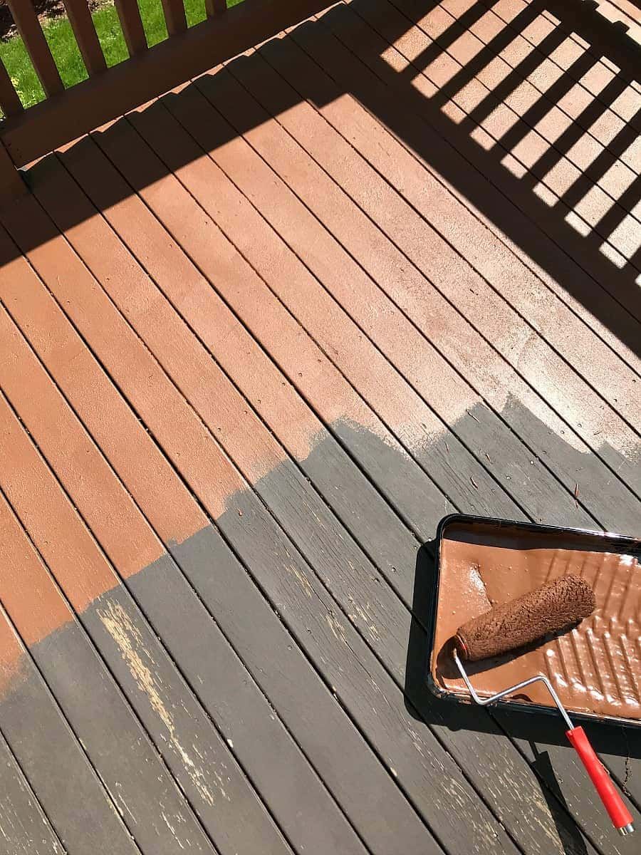 The first coat of Behr Deck Over onto a thoroughly cleaned deck