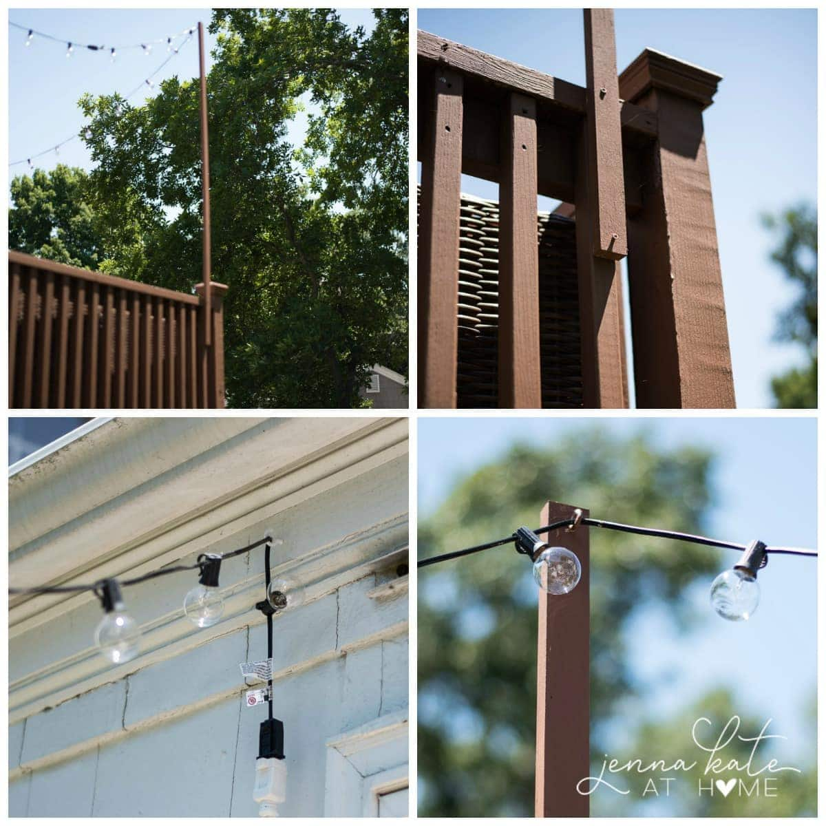 string light pole attached to raised deck