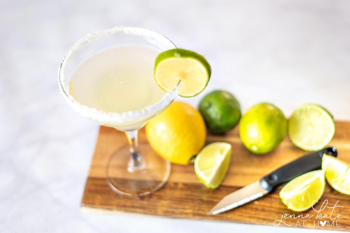 Margarita mix from scratch in a salt rimmed glass