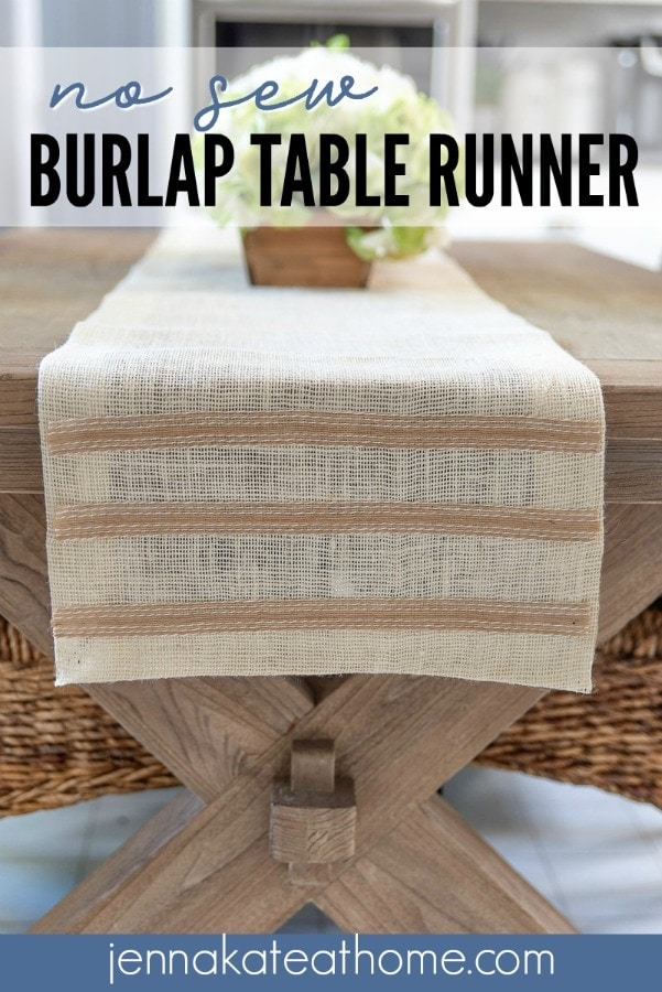 DIY No Sew Burlap Table Runner for fall
