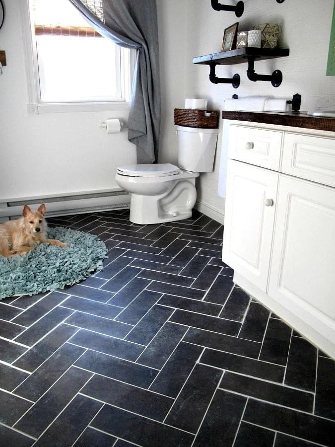 Peel and stick herringbone tile floors