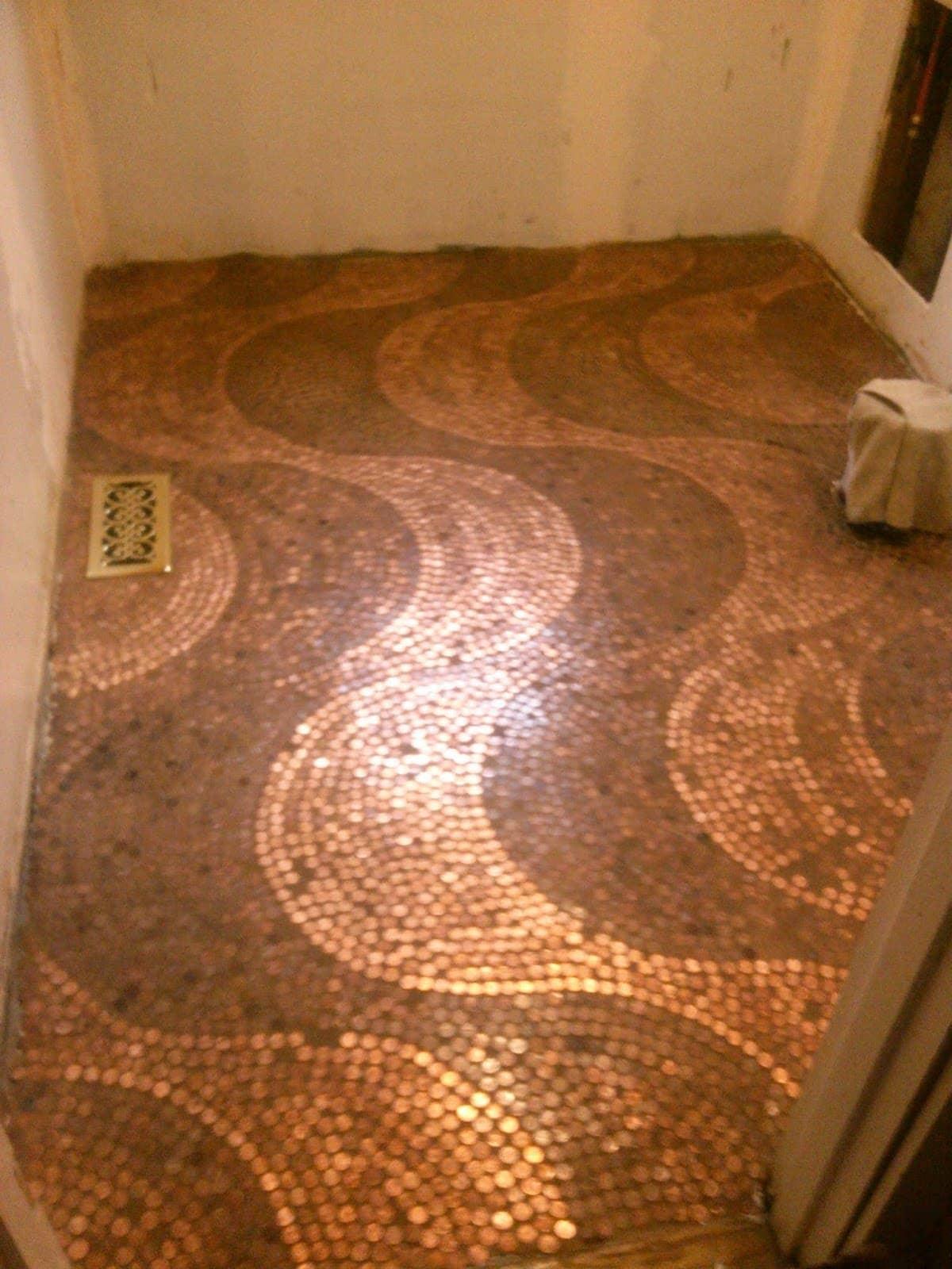 Penny flooring idea
