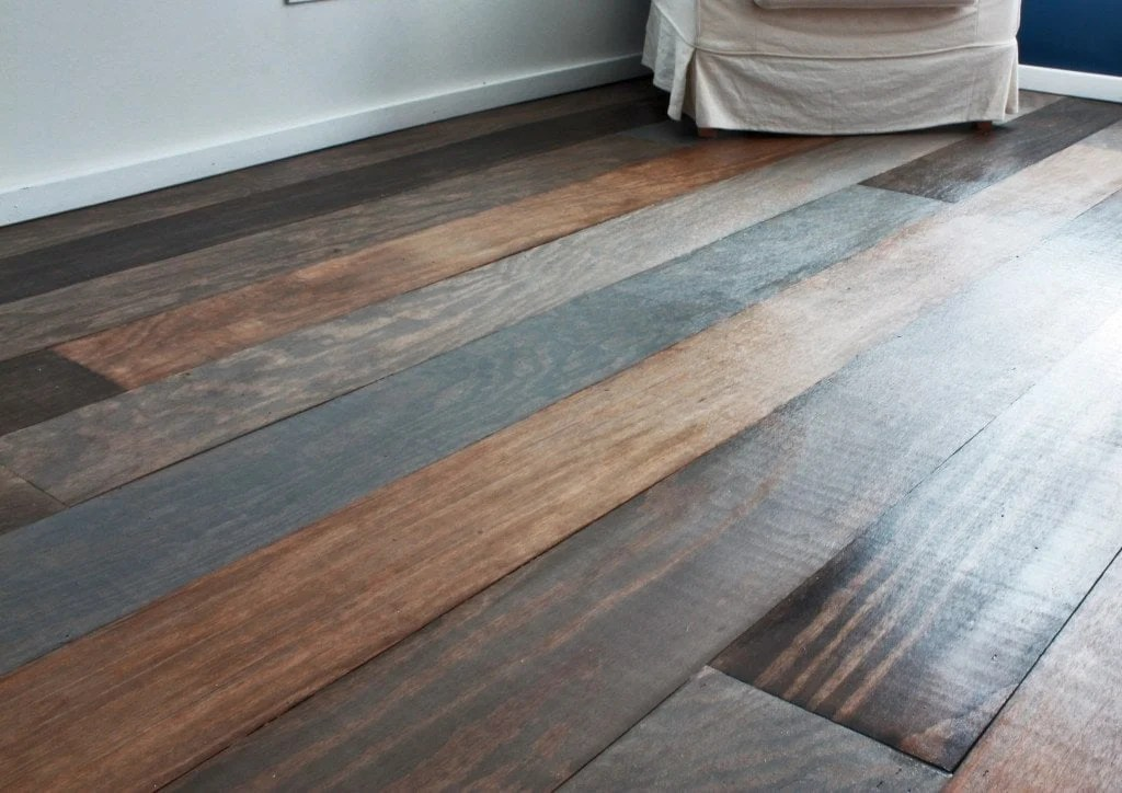 plywood faux plank flooring with varied colors