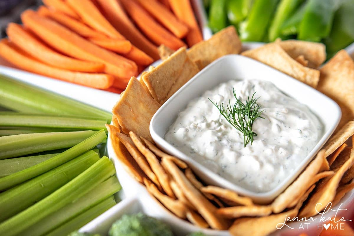 Homemade veggie or chip dip made with sour cream and dill but no mayo