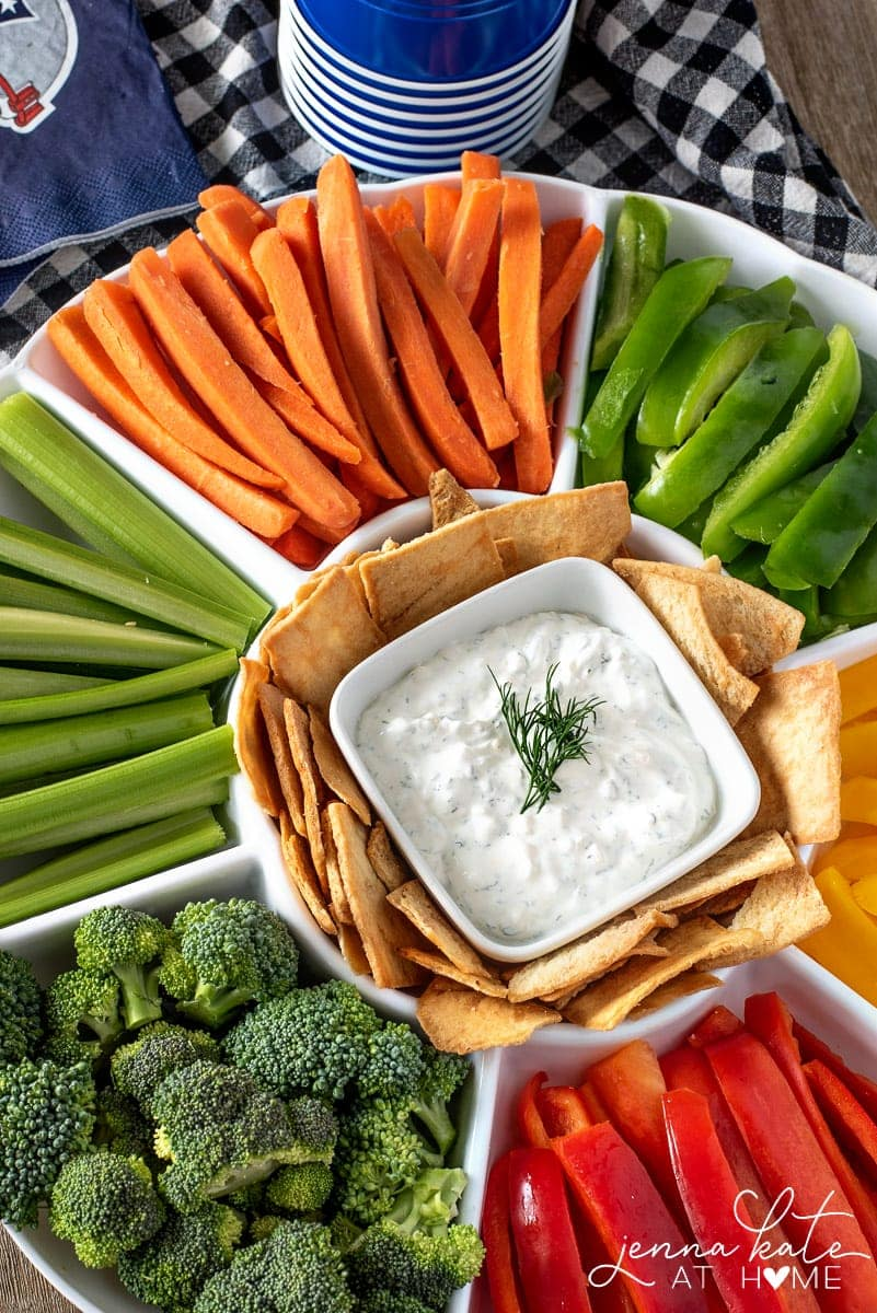 easy homemade veggie dip with chopped vegetables and chips
