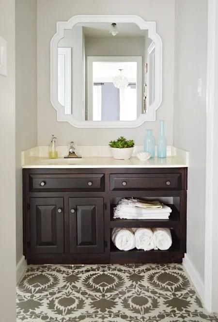 Revere Pewter with dark wood vanity in bathroom
