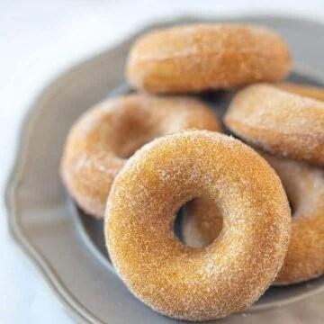 Baked pumpkin donuts with cinnamon sugar