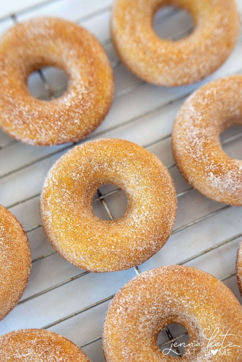 These pumpkin spice cake donuts are light and fluffy, coated with sweet cinnamon sugar