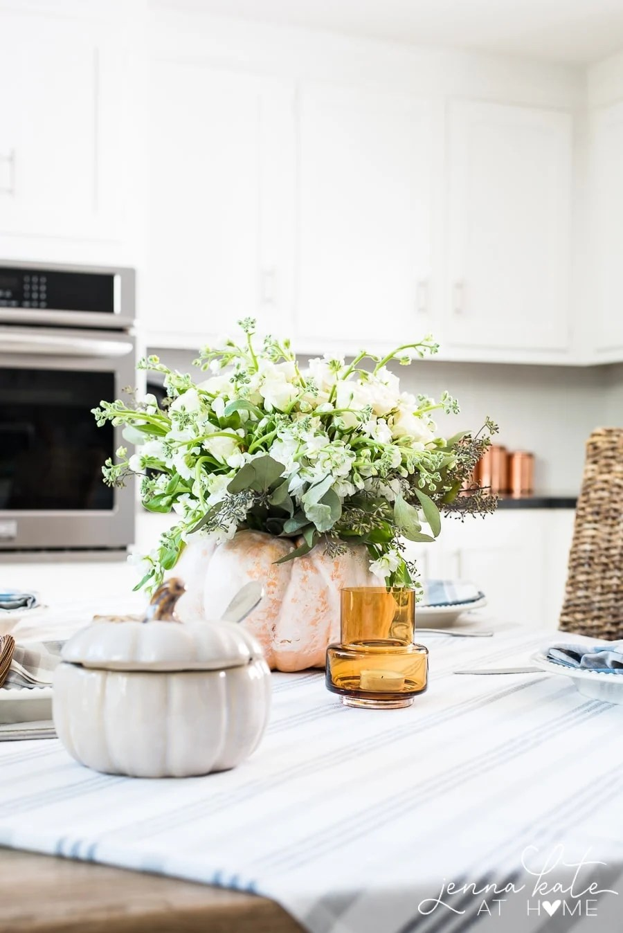 A pumpkin floral centerpiece is an easy DIY that costs less than