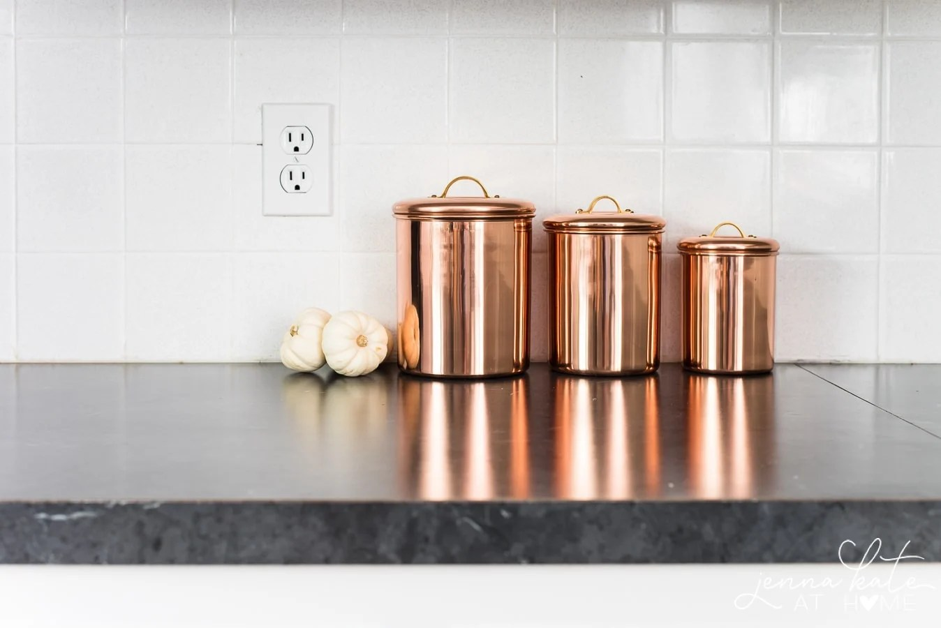 copper canister for fall decor in the kitchen