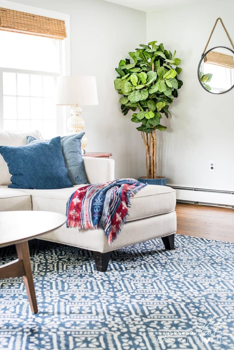 Navy blue printed living room rug