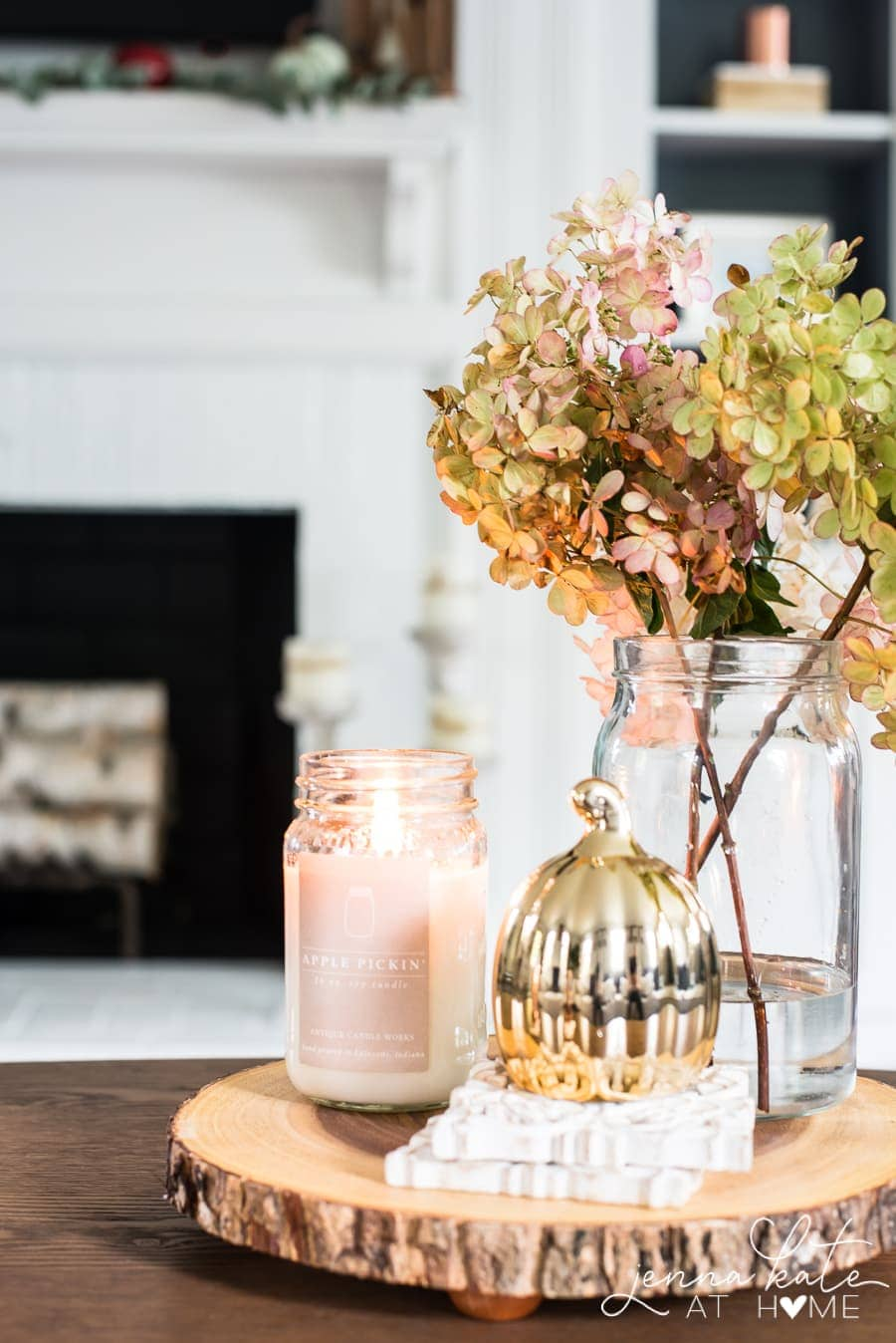 Dried hydrangeas in a vase are a free way to decorate with natural elements for fall