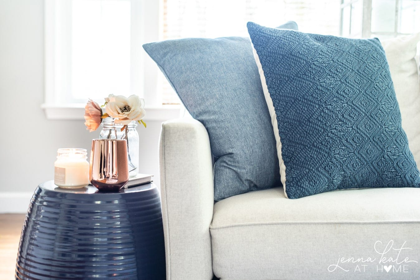 blue throw pillows on couch