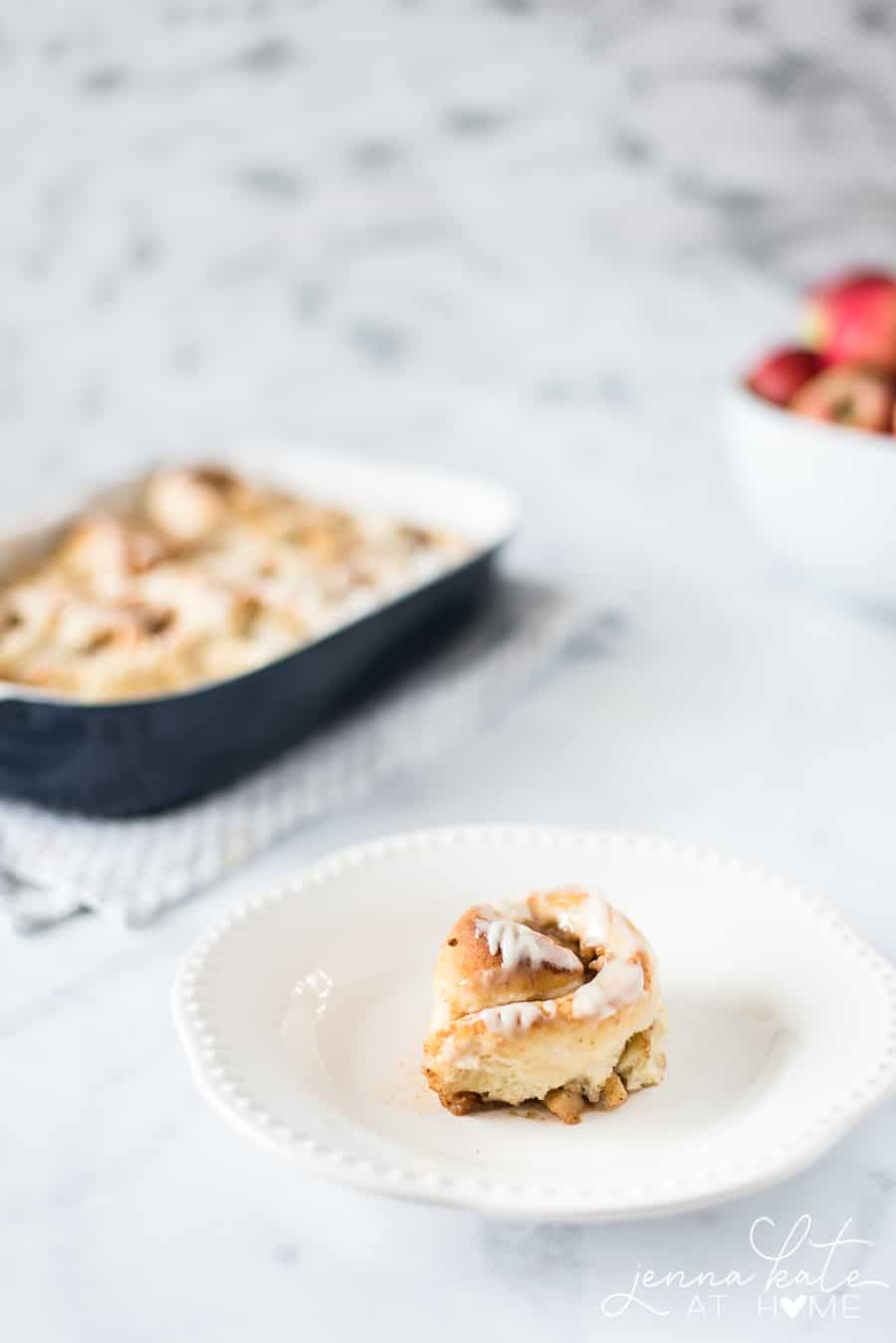 Apple pie cinnamon rolls with a simple glaze
