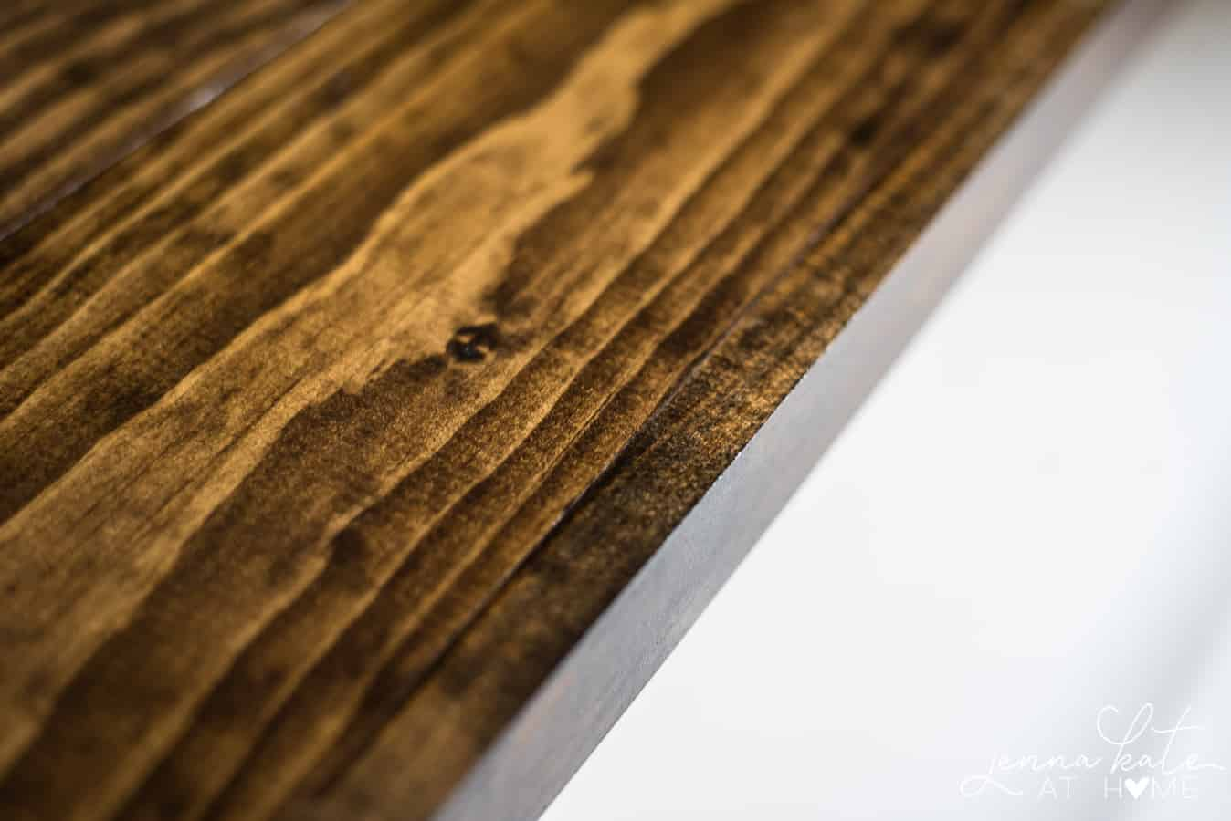 A close-up view of the wood details of the DIY wide plank butcher block countertops
