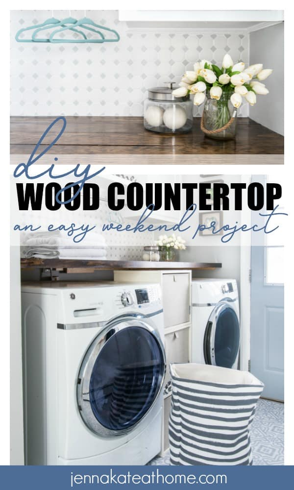 DIY Wood Countertop - an easy weekend project: top photo has a front view of the countertop with a vase and jar resting on top; bottom photo shows the front-loading washer and dryer underneath the new wood countertop.