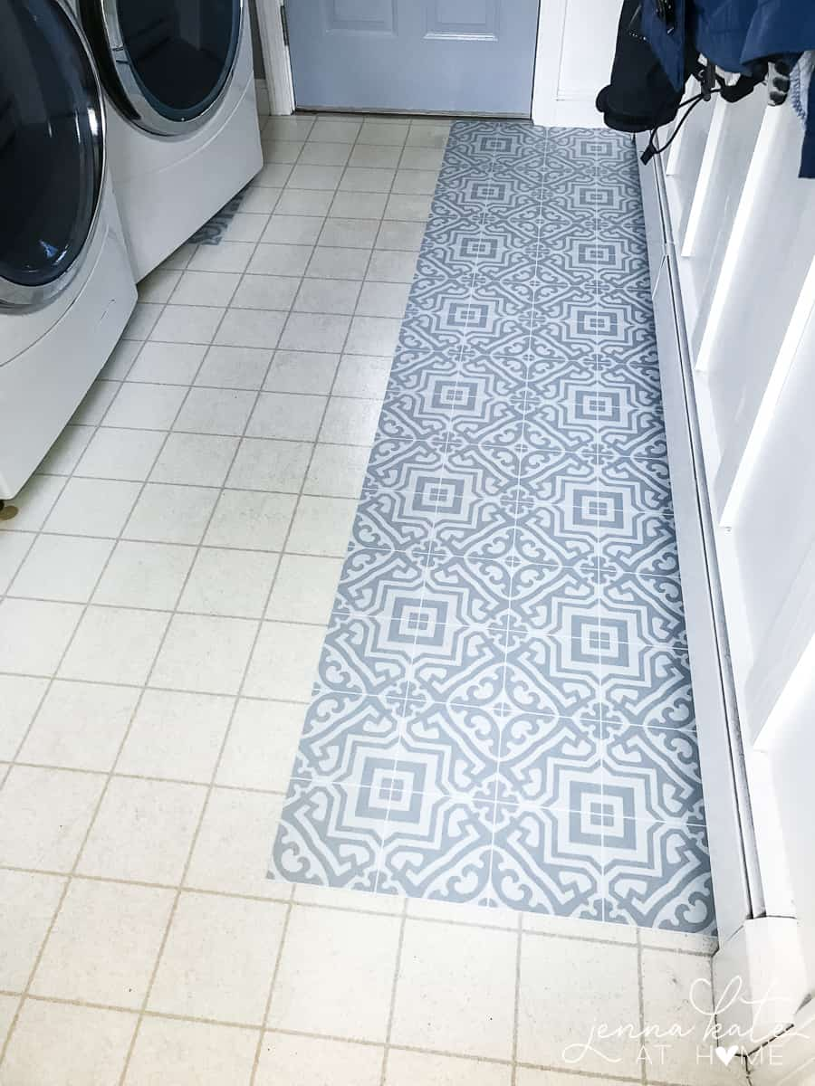Vinyl floor stickers are perfect for kitchens, bathrooms and laundry rooms. These ones come in a sheet so they are durable and waterproof.