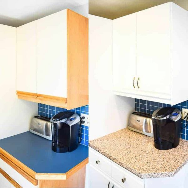 Contact paper countertop before and after