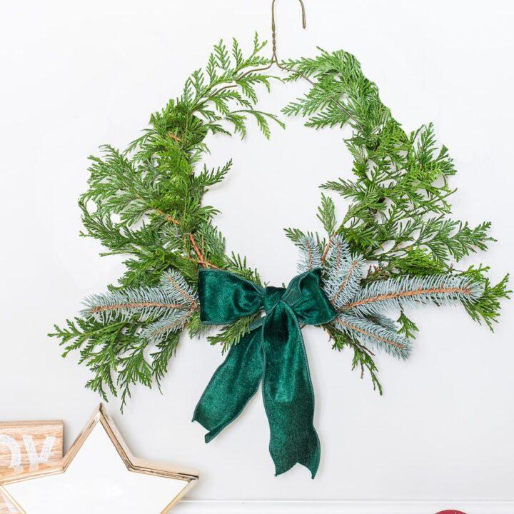 DIY Wire Hanger Wreath