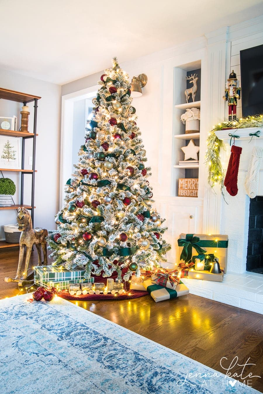 Christmas tree decorating with dark red and green