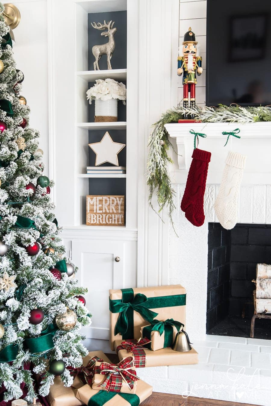 Green and Burgundy Christmas Decor