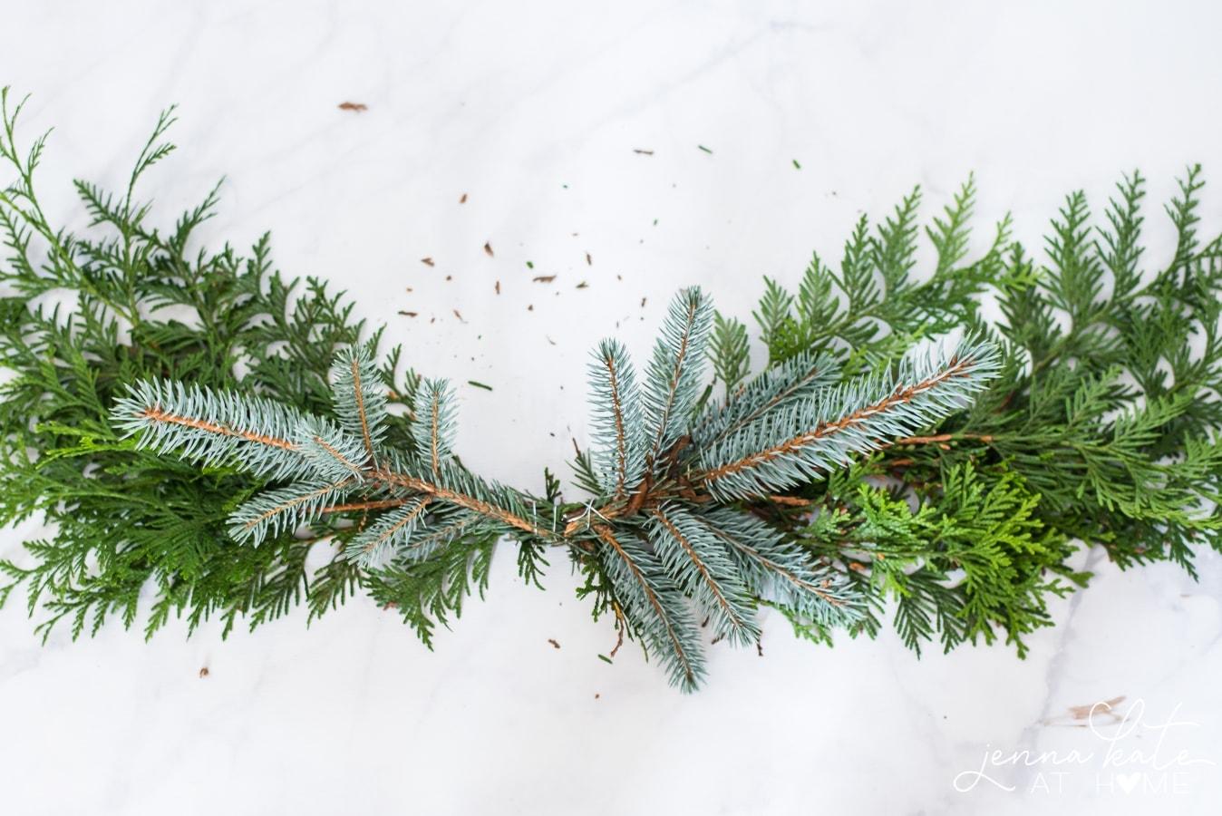 Simple evergreen xmas wreath