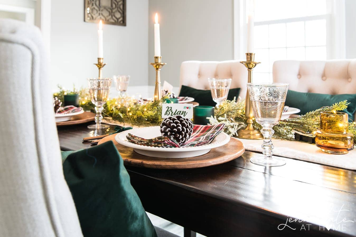 Simple and elegant traditional Christmas place settings