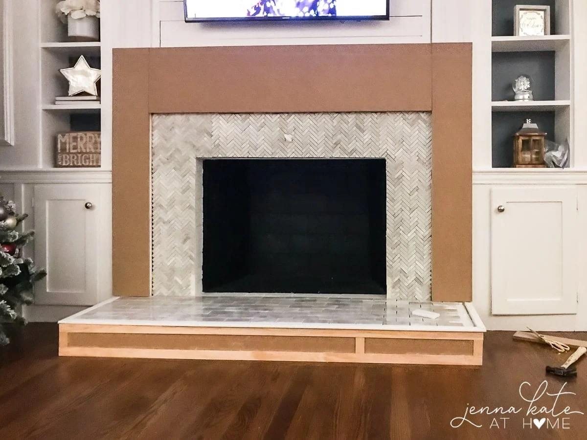 Shadow boxes using lattice trim for the front of the DIY fireplace surround