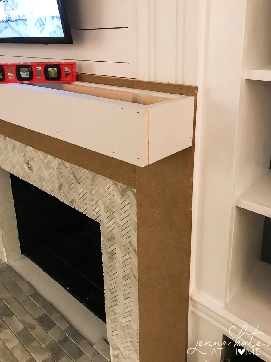 Building a box from wood for the mantel shelf