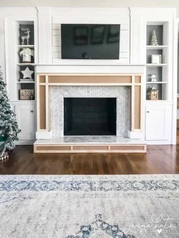 DIY fireplace surround in a living room