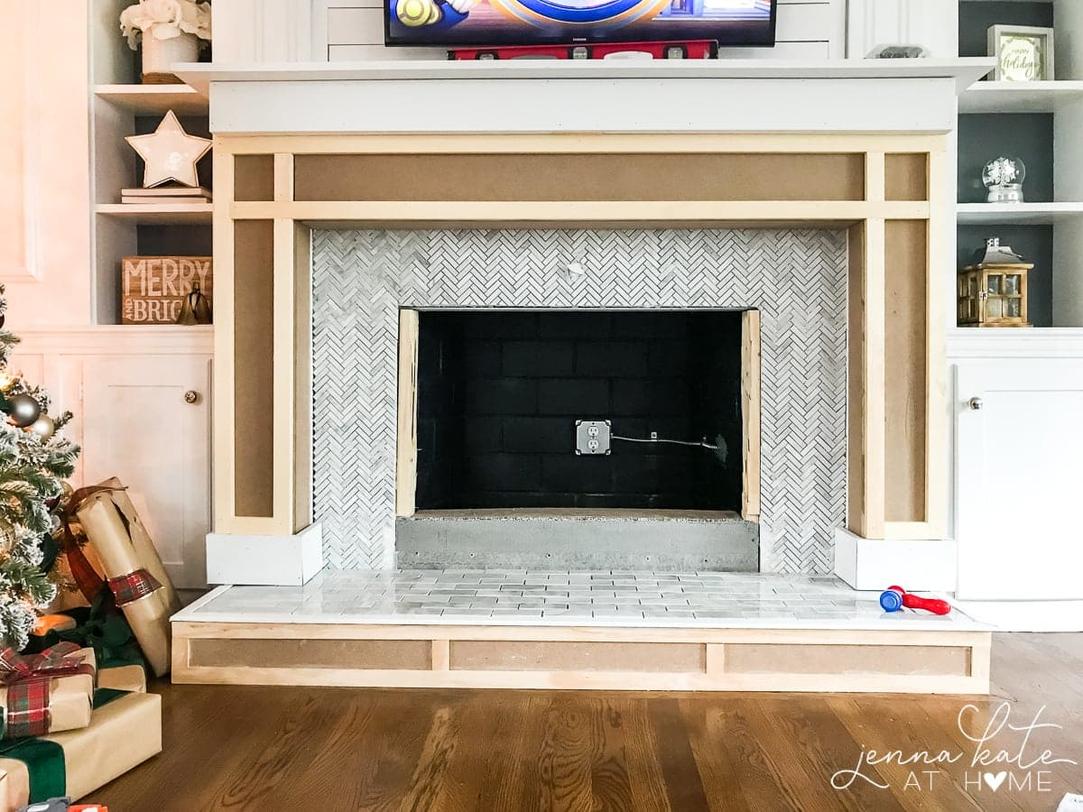 MDF fireplace surround and hearth over existing brick