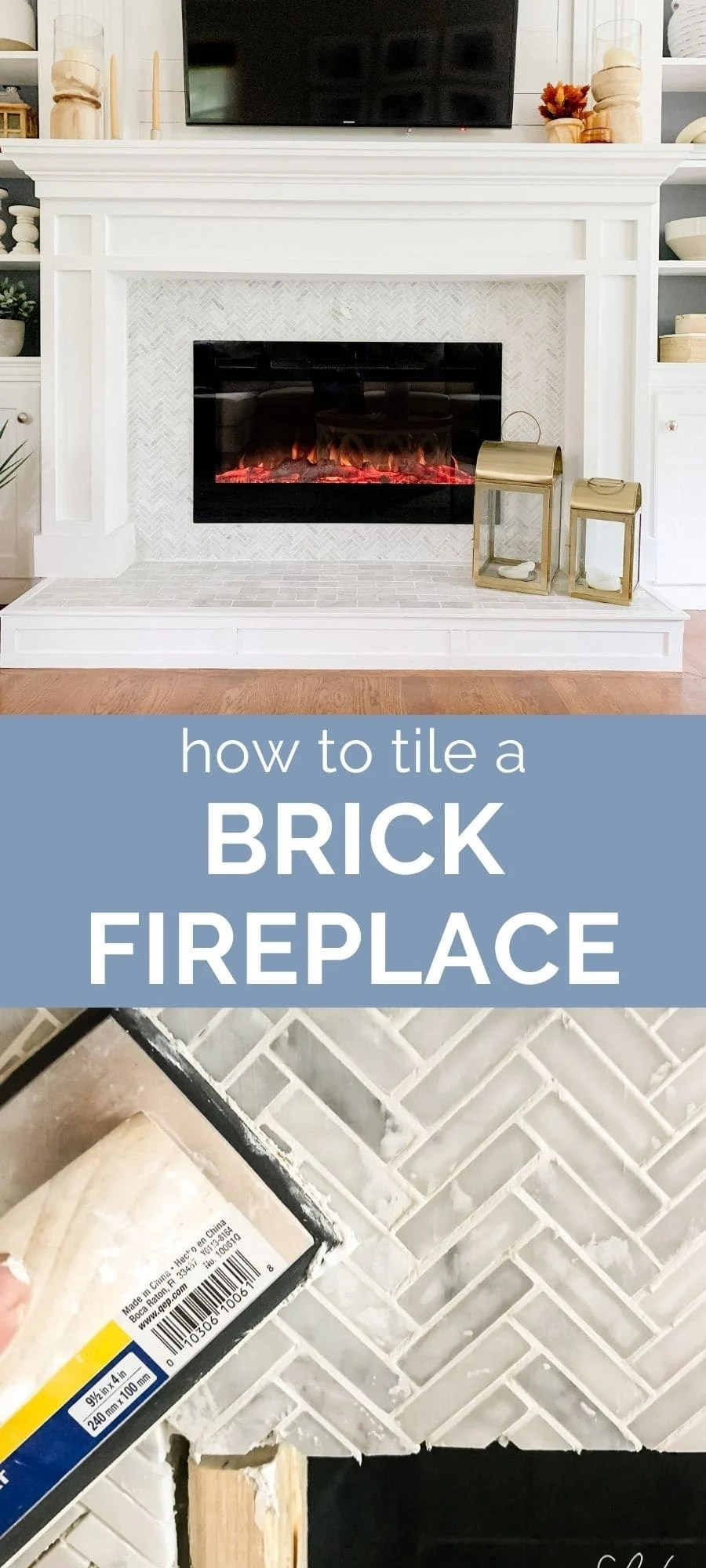 How To Tile A Brick Fireplace Jenna, How To Reface A Brick Fireplace With Tile