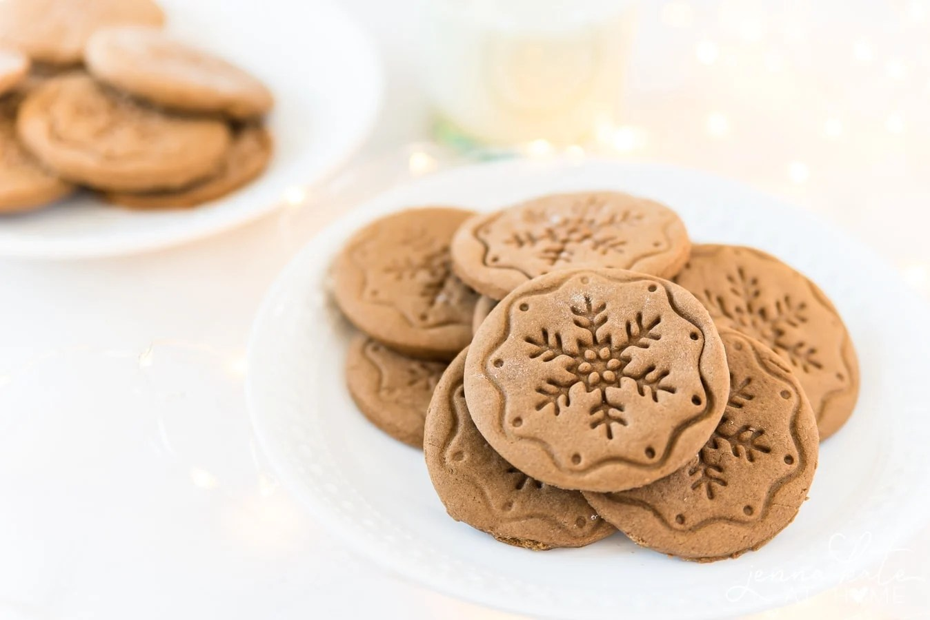 soft gingerbread cookies piled on a plate