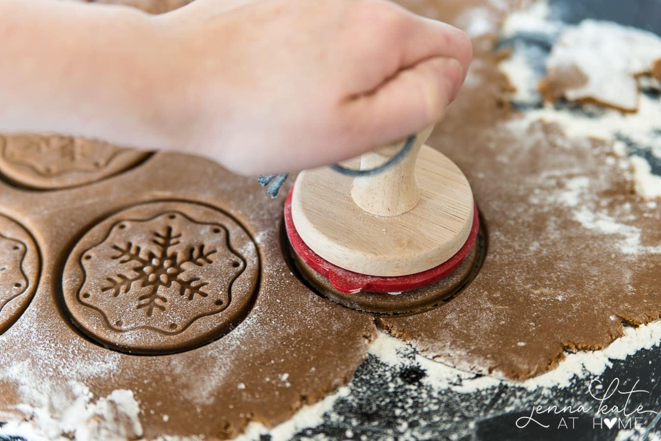 roll out spiced gingerbread holiday cookies